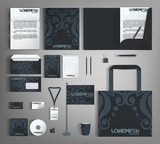 Corporate Identity set with blue vintage design.