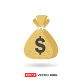 Money Bag Icon / Vector With Color