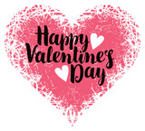 vector greeting card with inscription happy valentines day with hearts