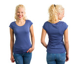 Woman in blue round neck T-shirt - 132025738