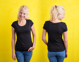 Woman in black t-shirt on yellow background