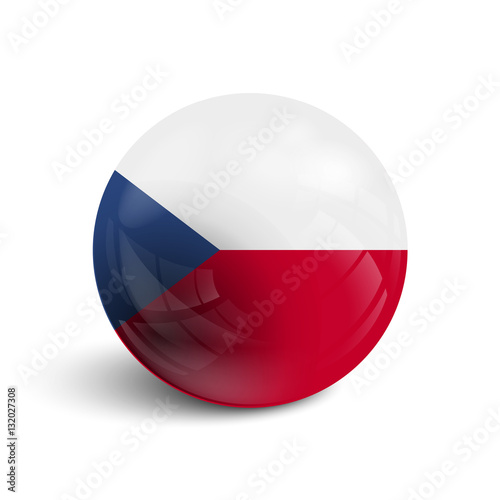 Poster Realistic ball with flag of Czech Republic