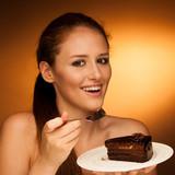 chocolate cake - glamorous woman eats dessert