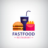 Vector fastfood restaurant, cafe colorful logo. Burger, fried potatoes