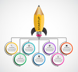 Infographic design template. Rocket of a pencil for educational and business presentations and brochures.