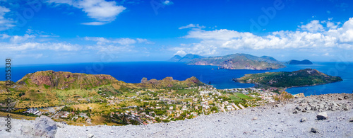 Fotobehang Purper Landscape view of Lipari islands taken from Volcano island, Sicily, Italy