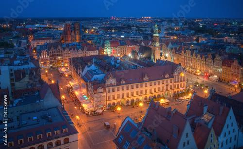 Wrocław nocna panorama starego miasta
