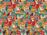 Funny owls birds group color seamless pattern