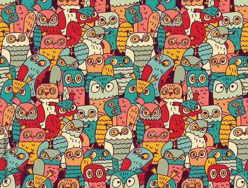 Fotobehang Uilen cartoon Funny owls birds group color seamless pattern