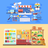 Supermarket and e-commerce banners flat concept