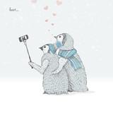 cute love penguins taking selfies. freehand drawing. vector