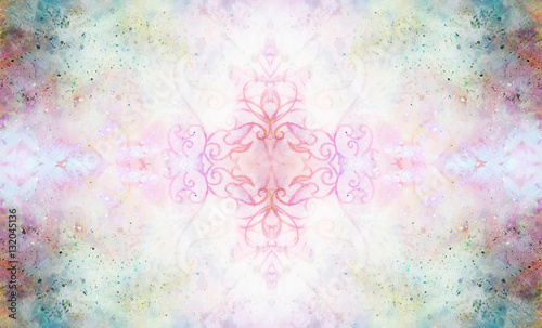 ornamental pattern on multicolor abstract background with spots. - 132045136