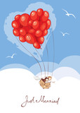 Bride and groom are leaving on a journey in a balloon / Vector illustration on the theme wedding - 132046374