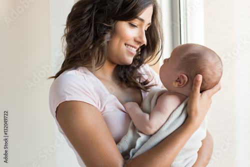 Woman with newborn baby