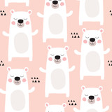 seamless pastel polar bear pattern vector illustration