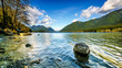 Alouette Lake in Golden Ears Provincial Park in British Columbia, Canada under partly Blue Skies