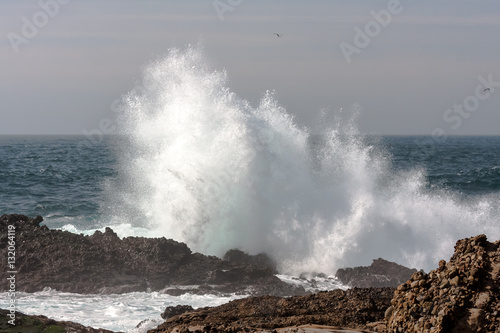 Poster Wave crashing on rocky shore