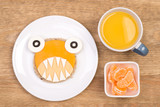 Funny sandwich for kids in a shape of a monster