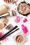 make-up cosmetics on white background