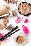 make-up cosmetics on white background