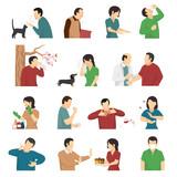Allergy Symptoms Causes Flat Icons Set