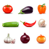Set Of Fresh Vegetables Icons