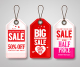 Valentines day sale price tags and labels vector set with half price store promotional designs. Vector illustration.