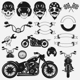 Motorcycle Set. Vector Iluustration