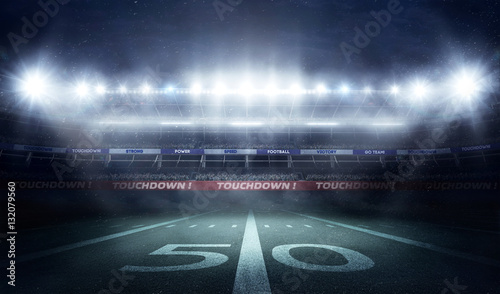 football stadium 3D in lights at night render