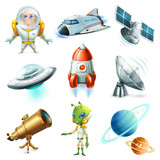 Space, spaceship, planet, spaceman, ufo and satellite. 3d vector icon set