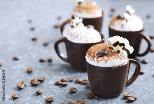 Poster Coffee mousse with whipped cream in chocolate cup