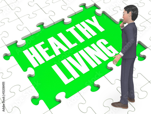 Leinwanddruck Bild Healthy Living Puzzle Showing Healthy 3d Rendering