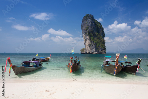Poster Traditional thai longtail boat at  Poda  island ,Thailand