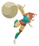 volleyball girl player blocking the ball