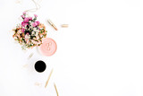 Wildflowers bouquet, coffee cup, golden pen, clips and accessories. Styled flat lay mockup - 132089196