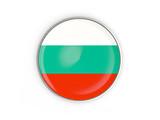 Flag of bulgaria, round icon with metal frame
