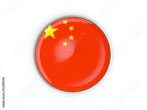 Poster Flag of china, round icon with metal frame