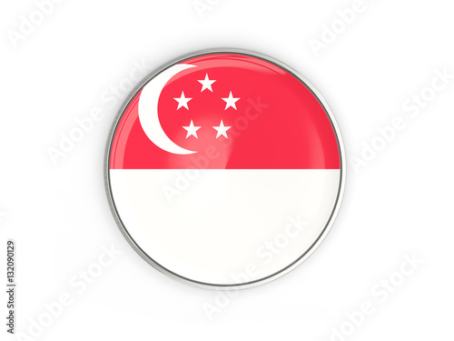 Poster Flag of singapore, round icon with metal frame