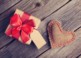 Valentines day heart and gift box