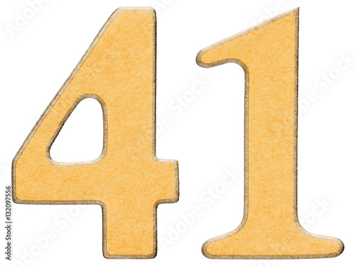 Poster 41, forty one, numeral of wood combined with yellow insert, isol