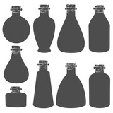 Vector set with the image of the vials, tubes. Isolated objects on a white background.