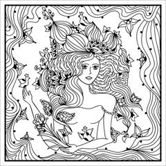 Beautiful woman head with abstract hair with floral design. Coloring book anti stress for adults. Vector illustration. Black and white in zentangle style.