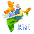 Detaily fotografie India map tricolor flag background with proud Indian people