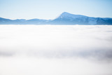 Winter mountains with fog