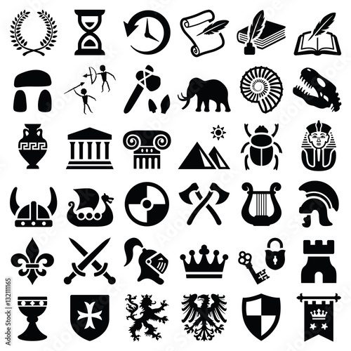 History and culture icon collection - silhouette illustration