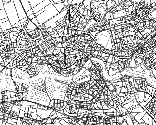 Fotobehang Rotterdam Black - white vector map of Rotterdam, Netherland. City plan Rot