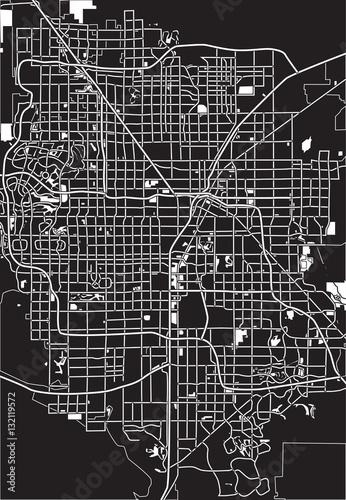 Poster Black - white vector map of Las Vegas, USA.