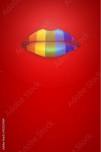 Rainbow color lips on red background party invitation and flyers rainbow color lips on red background party invitation and flyers lgbt symbol vector stopboris Image collections