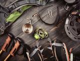 Climber accessories set on dark wooden background
