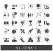 Collection of scientific icons. Icons of science, ideas, physics, chemistry, astronomy, genetic engineering.
